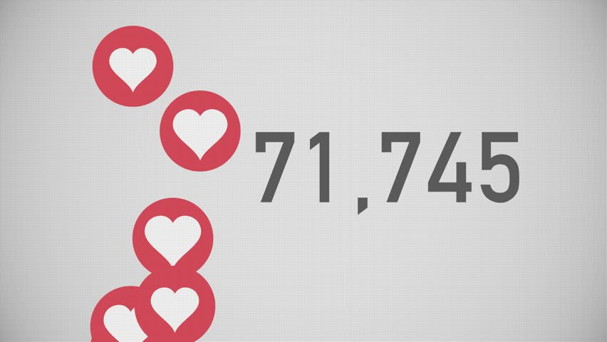 A close up shot of 100,000 likes being counted with thumping hearts on a social network page. Flat version.
