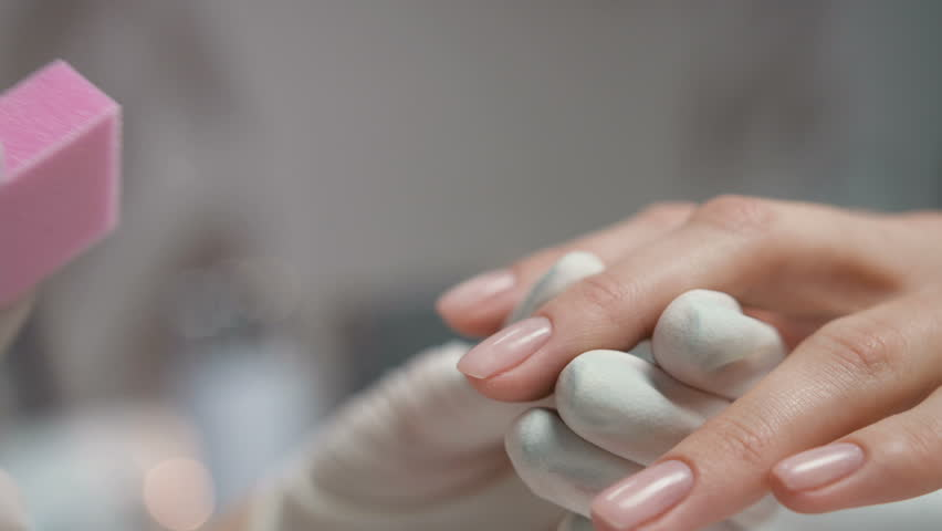 Beauty Care. Closeup Beautiful Woman Hand With Healthy Natural Nails ...