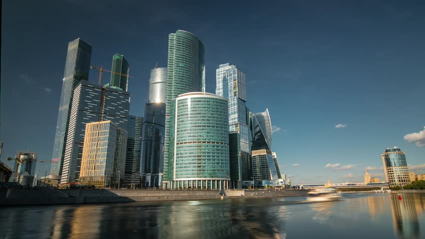 Sunny summer day moscow world trade center Moscow city skyscrapers panorama 4k time lapse russia | Shutterstock HD Video #23646505