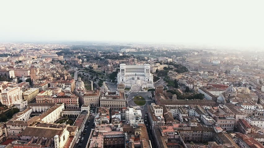 Rome, Italy Cityscape Skyline Aerial View featuring Piazza Venezia and Colosseum 4K  | Shutterstock HD Video #23649013