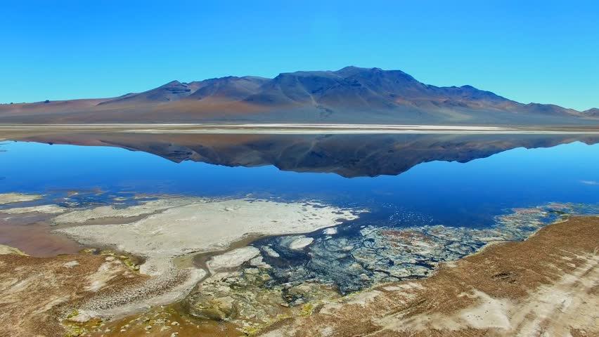 Aerial view of Mirror of Salar de Tara, Atacama desert, Chile from above