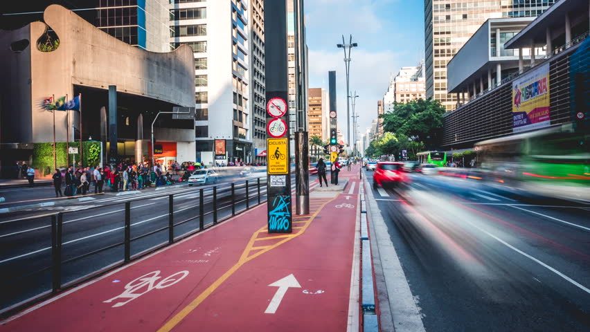 Sao Paulo, Brazil - July 28, 2016: Time lapse view of traffic on busy Paulista Avenue in Sao Paulo, Brazil.