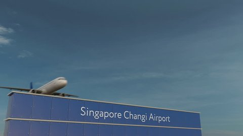 Commercial airplane taking off at Singapore Changi Airport 3D conceptual 4K animation