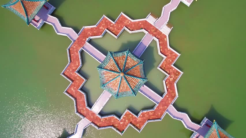 traditional Chinese pavilions in the lake top aerial view