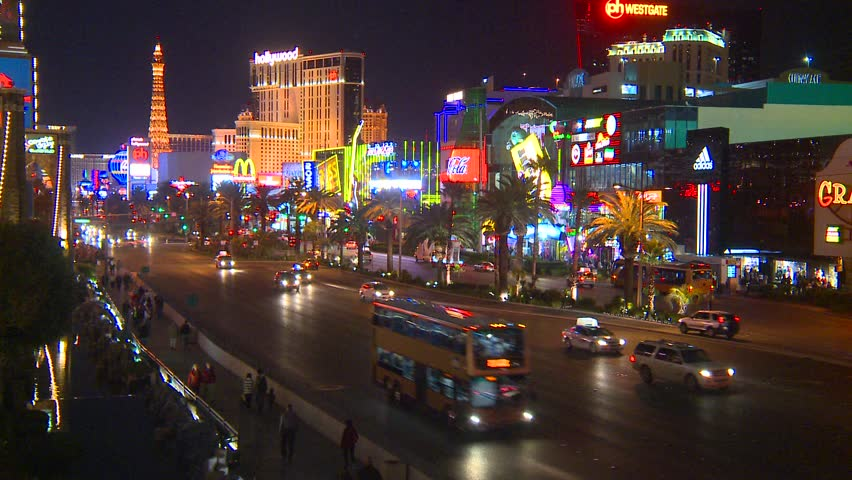 Las Vegas Strip Night Hd Video Clip 582382: APRIL 18: Show Of The Musical Fountains Of