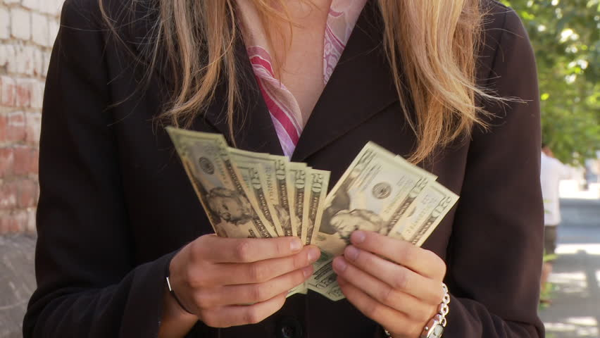 View of a businesswoman counting money in USA #2370452