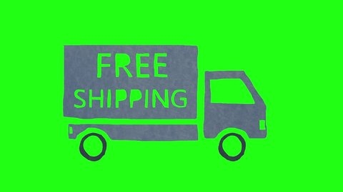 Truck with FREE SHIPPING written on it driving on green screen. Cartoon stop motion animation.
