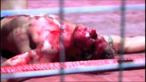 PORTSMOUTH - AUGUST 6: Cage Wrestler Bloody during a VPW Wrestling Show on August 6, 2009 in Portsmouth, England.