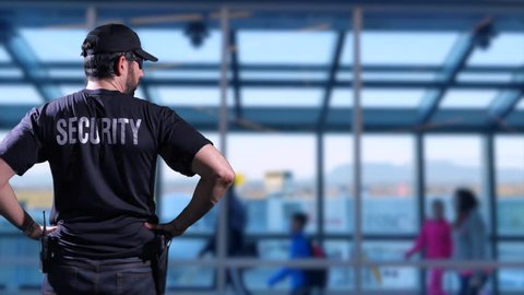 4K Airport Security Guard, Surveillance Safety Police Enforcement and Passengers