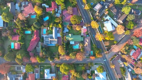 South Africa, A wealthy Johannesburg Neighborhood, Aerial Footage