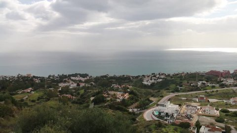 Panoramic view of bird's eye view, with the sea in the background, of the city of Fuengirola, in the province of Malaga, southern Spain