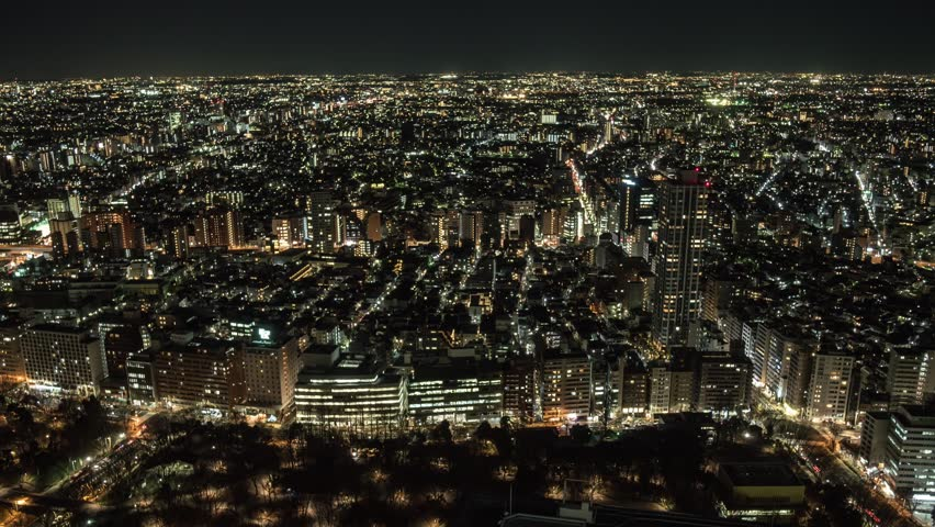 Timelapse footage of Shinjuku business district skyline at night, Tokyo, Japan | Shutterstock HD Video #23776492