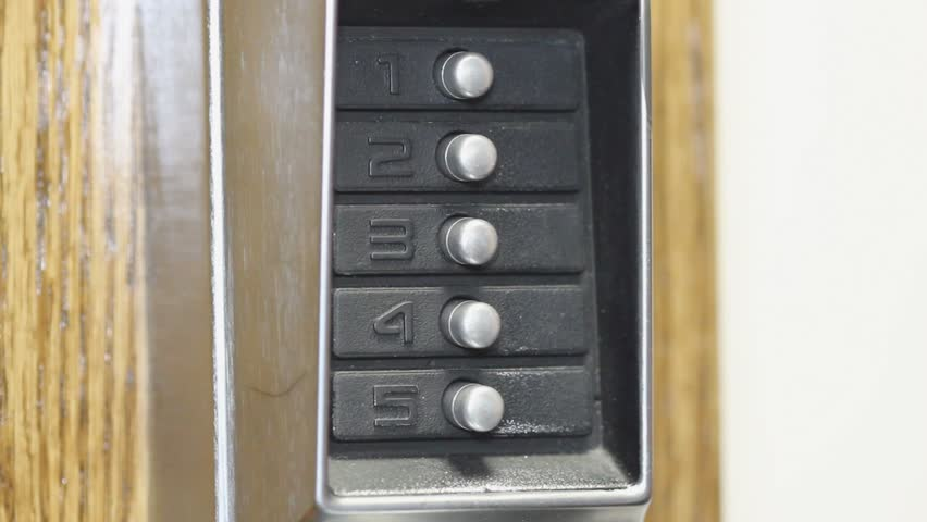 push button door combination lock buttons pressed hd stock video clip