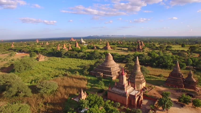 Bagan, Myanmar (Burma), aerial view of ancient temples and pagodas at sunset.
