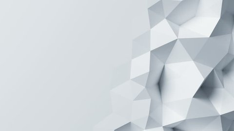 Beautiful White Polygonal Wall Morphing in Looped Abstract 3d Animation. Seamless Background Concept in 4k, 3840x2160, Ultra HD.