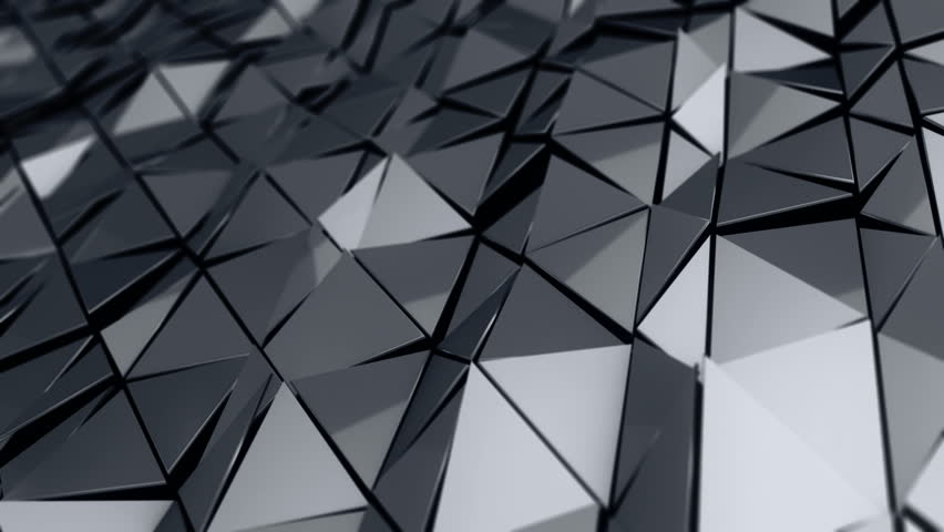 Abstract background with animation of waving smooth polygonal surface from glass, chrome or plastic. Good technological backdrop. Animation of seamless loop.