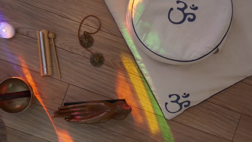 Top View Setup Of Meditation Objects Stock Footage Video 23885467 ...