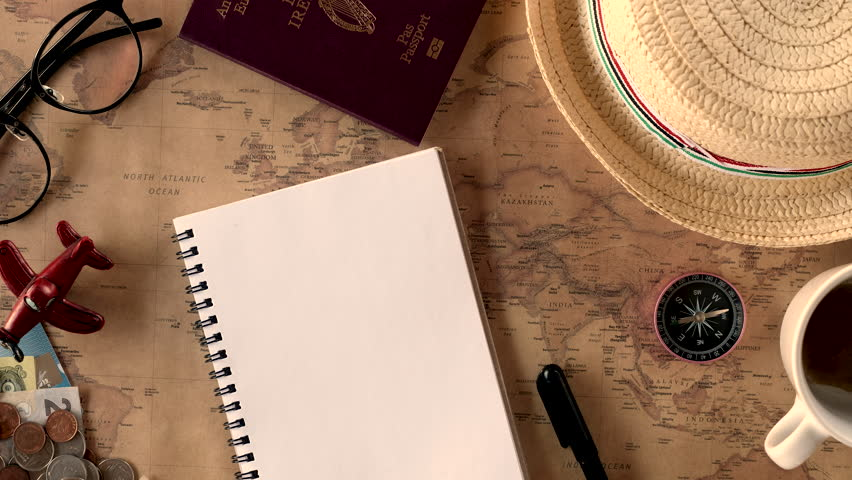 23856922 Video Accessories Travelers 100 Shutterstock Footage View Stock Royalty-free Overhead Of