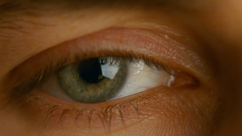 Close-up of a Blinking Man's Eyes. It's Grey with Brown Dots. Dilating Iris. Shot in Warm Colors. Shot on RED EPIC-W 8K Helium Cinema Camera. | Shutterstock HD Video #23884072