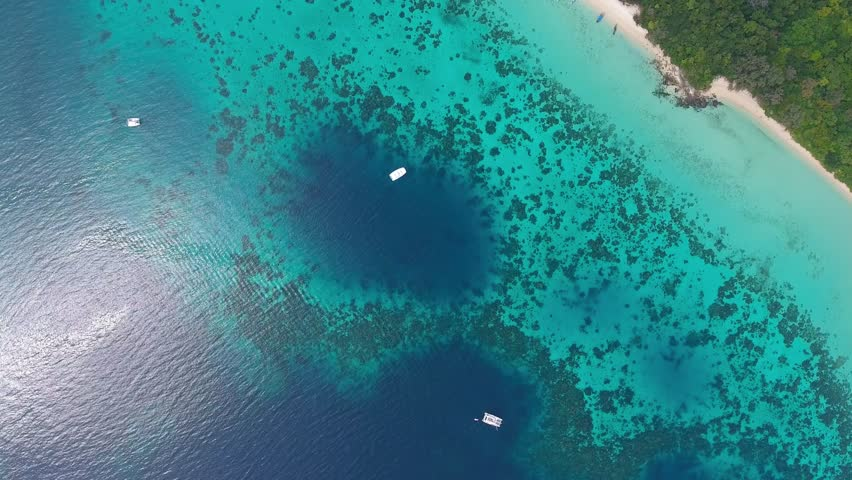 Top view aerial video of beauty nature landscape with beach, corals and sea on Koh Rok island, Thailand, 4k | Shutterstock HD Video #23887882