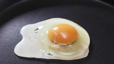 Video of egg being dropped on hot pan