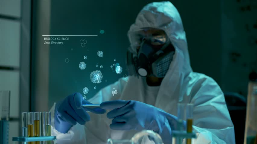 Examination of new dangerous virus strain. Global work to reduce epidemy, diseases and illness in the world. Bio scientist in protective lab clothes holds futuristic graphic hologram interface with 3D