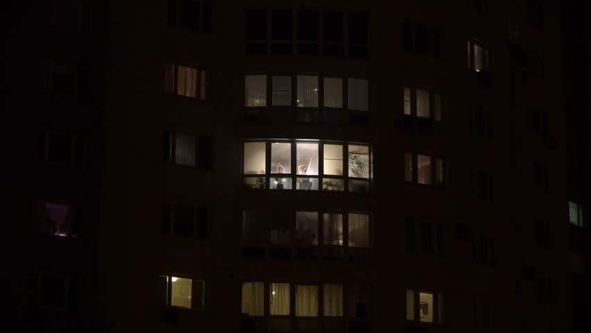 Night Up Angle Blue Gray Story Loft Apartment Building Big