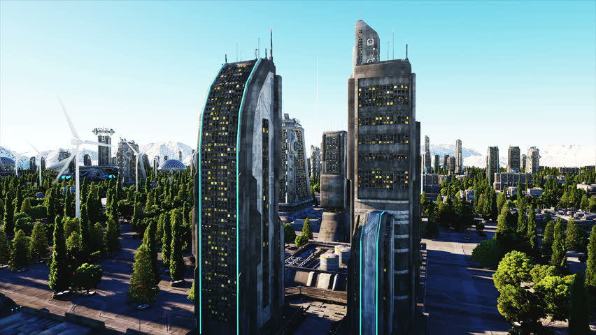 Futuristic City Town Architecture Of Stock Footage Video 100
