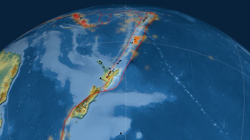 Kermadec tectonics featured. Relief. Plate extruded and animated against the globe. Tectonic plates borders (newest division), earthquakes by strength & volcanic cones | Shutterstock HD Video #23960782