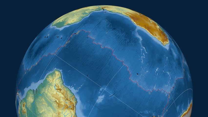 Africa tectonics featured. Relief. Plate extruded and animated against the globe. Tectonic plates borders (newest division), earthquakes by strength & volcanic cones   Shutterstock HD Video #23961523