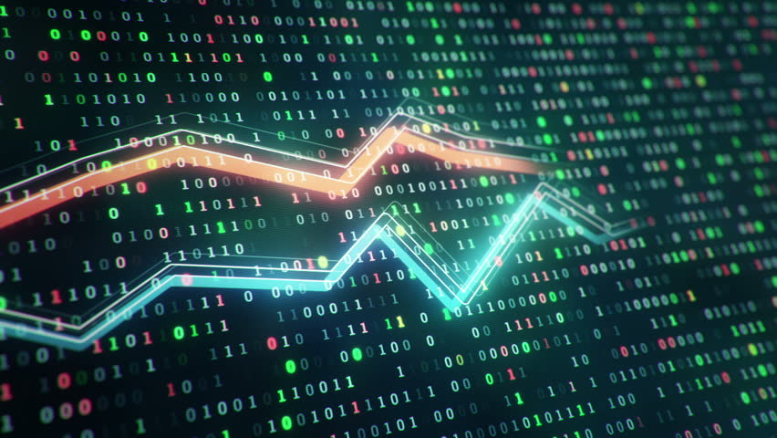 Technological background with growth of charts and graphs on binnary code backdrop. Symbols of business or finance with glowing glass surface. Seamless loop. | Shutterstock HD Video #23970268