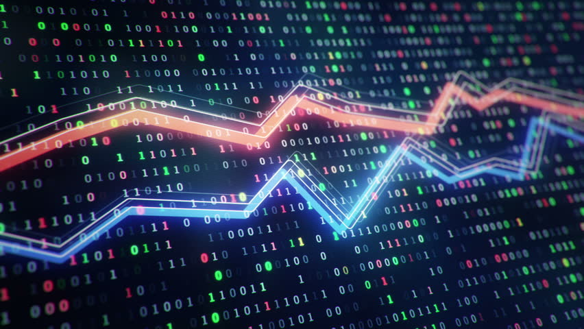 Technological background with growth of charts and graphs on binnary code backdrop. Symbols of business or finance with glowing glass surface. Seamless loop. | Shutterstock HD Video #23971819