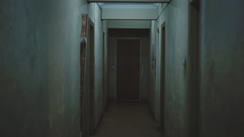 Old Dark Creepy Apartment Building,long Hallway, Gimbal ...