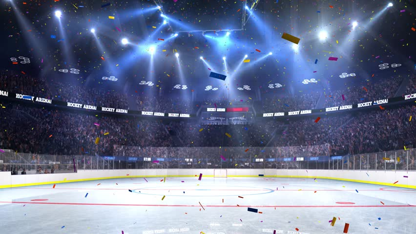 Hockey court with people fan. Sport arena. Ready to start championship. 3d render. Moving lights Confetti and tinsel | Shutterstock HD Video #24013762
