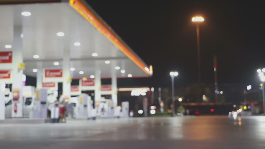 The Atmosphere Lighting Blurred in Gas station at night  | Shutterstock HD Video #24028192