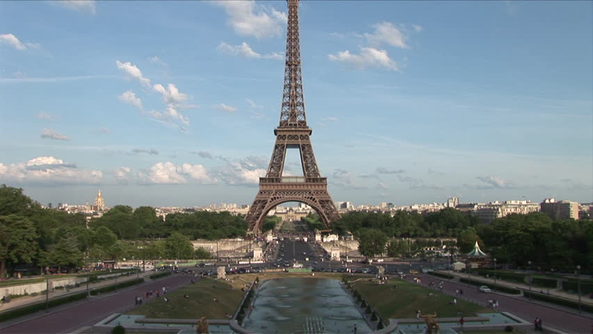 View of Eiffel Tower in Paris France with a pan up