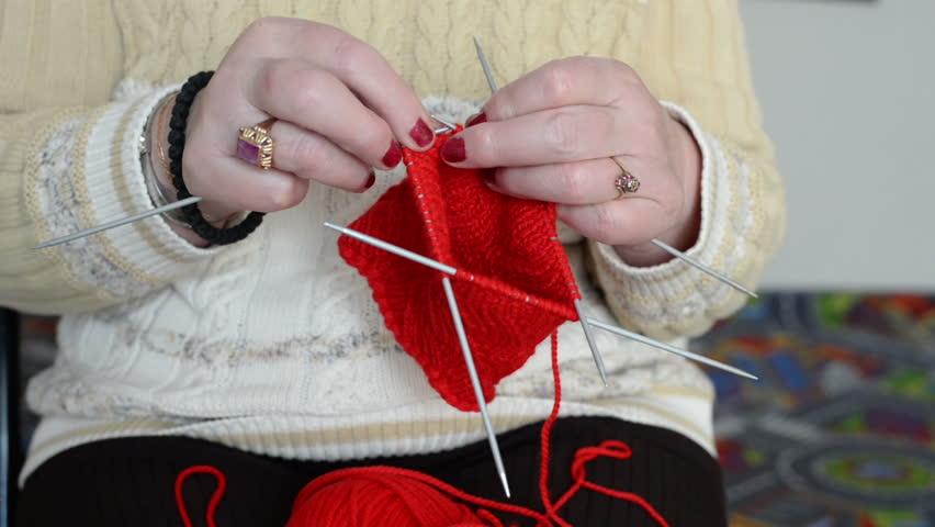 Women Knitting Socks Womans Hands Stock Footage Video 100
