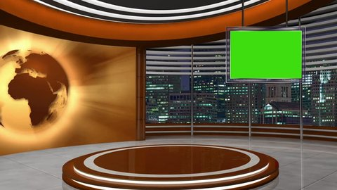 News TV Studio Set 253- Virtual Green Screen Background Loop
