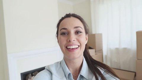 Beautiful woman opens the box. POV