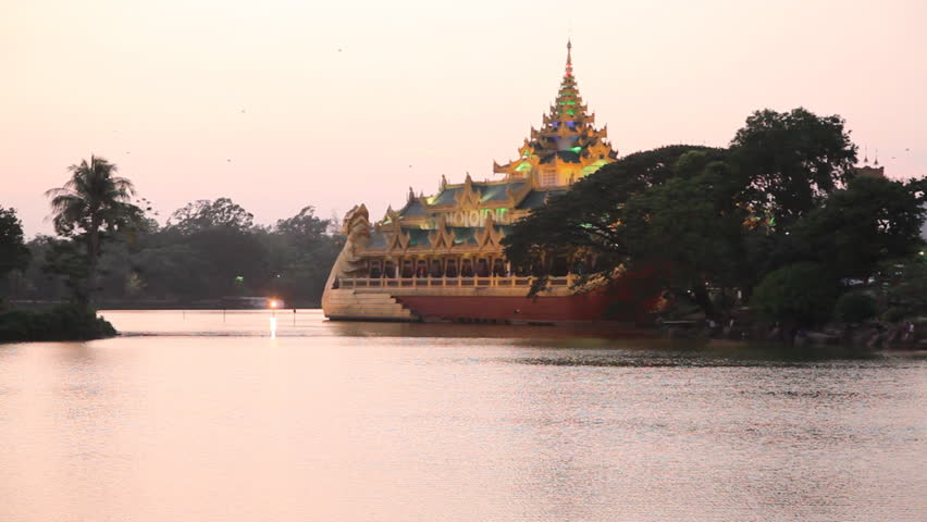 Kan Daw Gyi lake sunset, Yangon, Myanmar