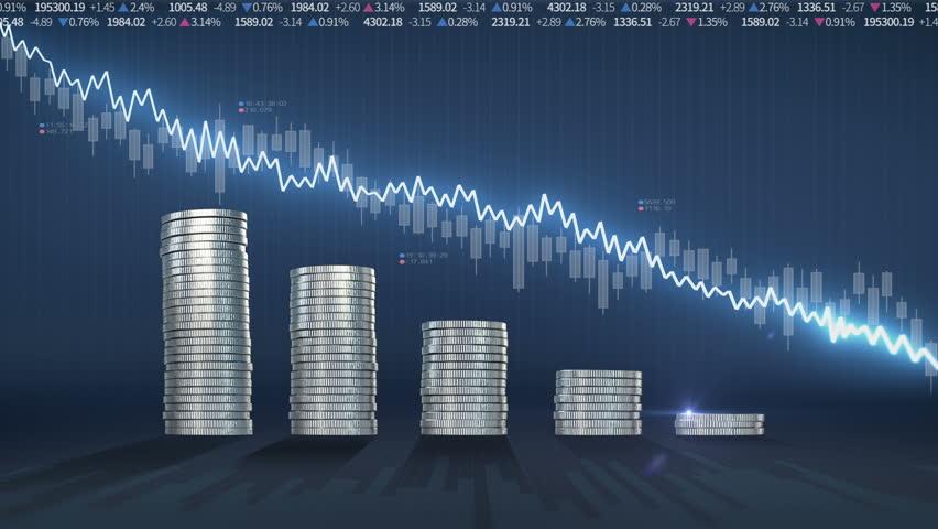 Pile up Golden coins and decrease blue waveform line, expressed degradation stock market, economic profits | Shutterstock HD Video #24069796