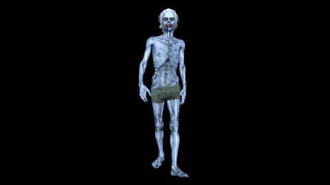 3D CG rendering of a walking zombie
