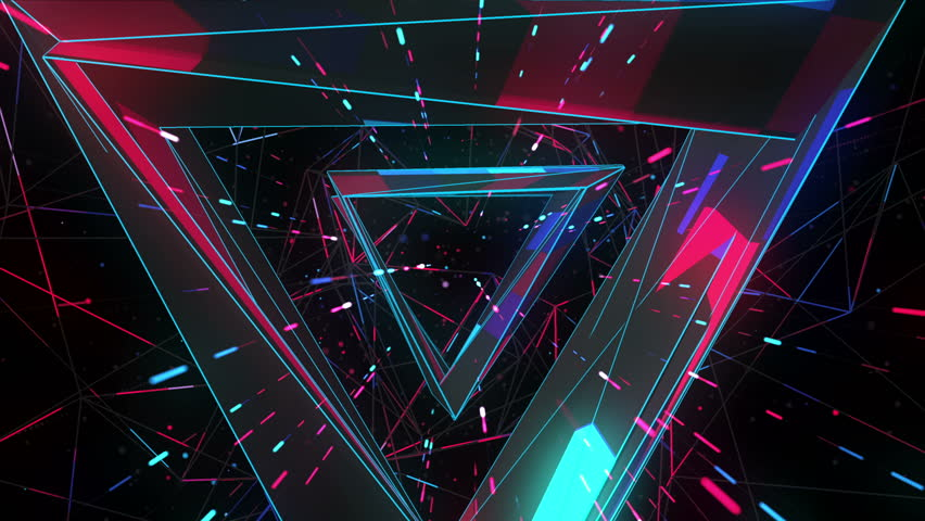 3d Space Teleport Tunnel Triangle Pathway Animation