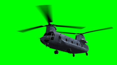 Render of Chinook CH 47 heavy-lift helicopter flying on green screen