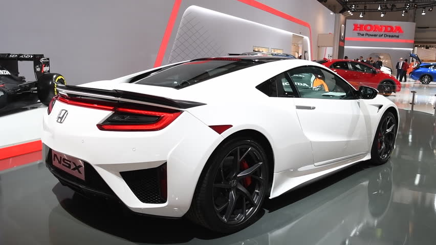 BRUSSELS, BELGIUM   JANUARY 13: Honda NSX Hybrid Sports Car Rear View  During The
