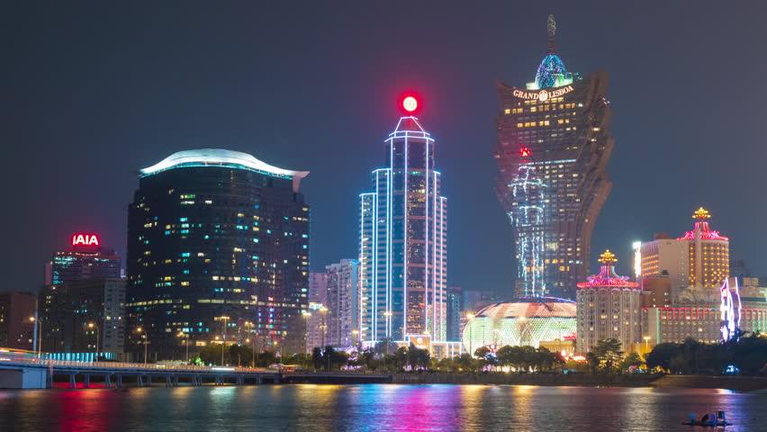 night light macau city famous hotel bay panorama 4k time lapse china