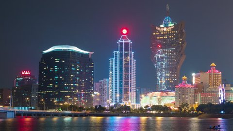 night light macau city famous hotel bay panorama 4k time lapse china