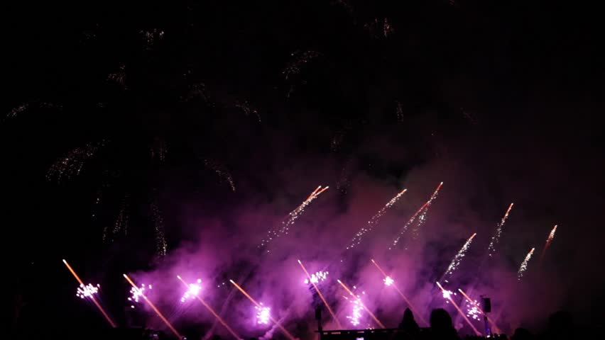 Beautiful big fireworks on the beach | Shutterstock HD Video #24143962