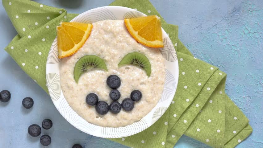 Cat kitten porridge oatmeal breakfast , funny food for kids