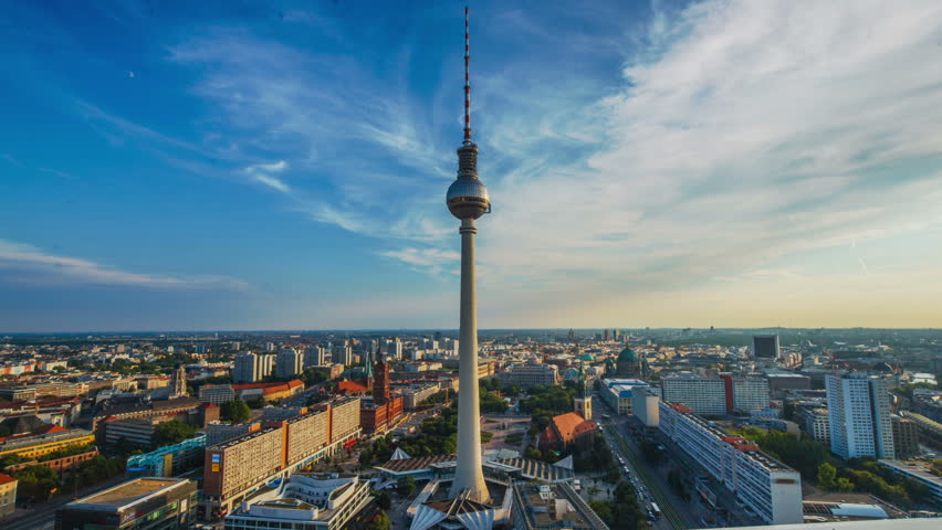 View on TV Tower in Berlin, Germany Timelapse
